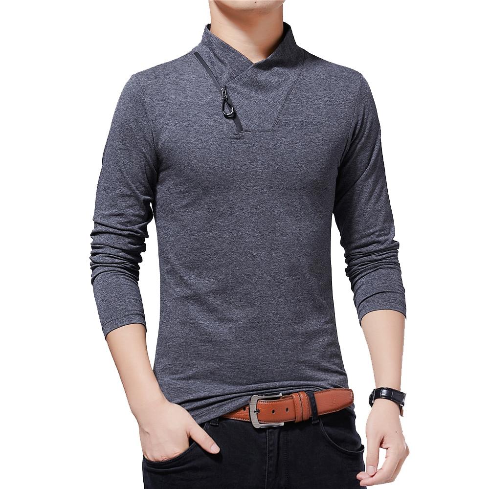 BROWON Brand T-shirt 2019 Men's Tshirt Autumn Fashion Long-Sleeved T-shirt Men Slim Fit Plus Size M-5XL Cotton T Shirt