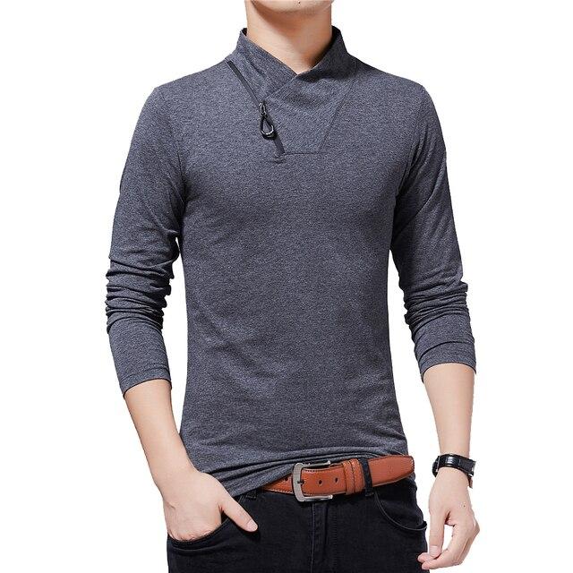 BROWON Brand T shirt 2020 Mens Tshirt Autumn Fashion Long Sleeved T shirt Men Slim Fit Plus Size M 5XL Cotton T Shirt