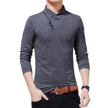 T shirt BROWON 2020 T shirt da uomo autunno moda T shirt a maniche lunghe da uomo Slim Fit T shirt in cotone M 5XL taglie forti