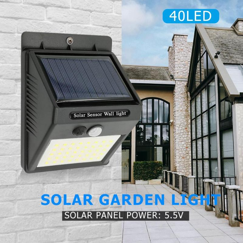 1-4pcs 40 LED Motion Sensor Solar Light Outdoor Garden Decoration Fence Stair Pathway Yard Security Solar LED Wall Lamp