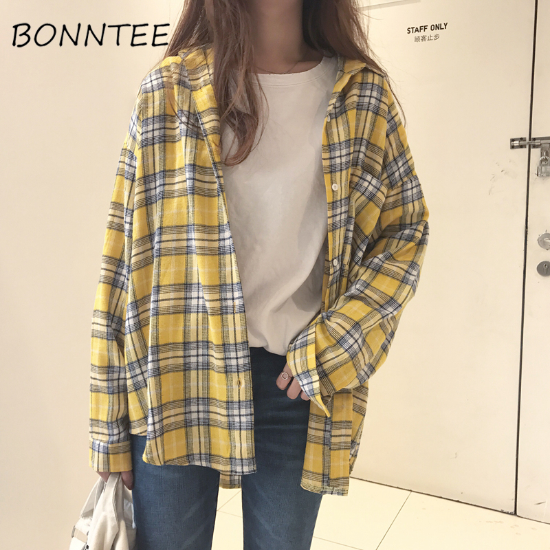 New Shirts Plaid  Pocket Casual Loose Chic Women Daily Retro Fashion Womens Batwing Sleeve All-match Korean Style Student Summer
