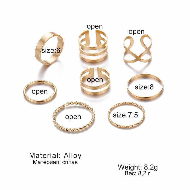 Originale di Disegno di Colore Dell'oro Rotonda Hollow Geometrica Anelli Set Per Le Donne di Modo Croce Twist Aperto Anello di Tenuta Anello Gioielli Femminili