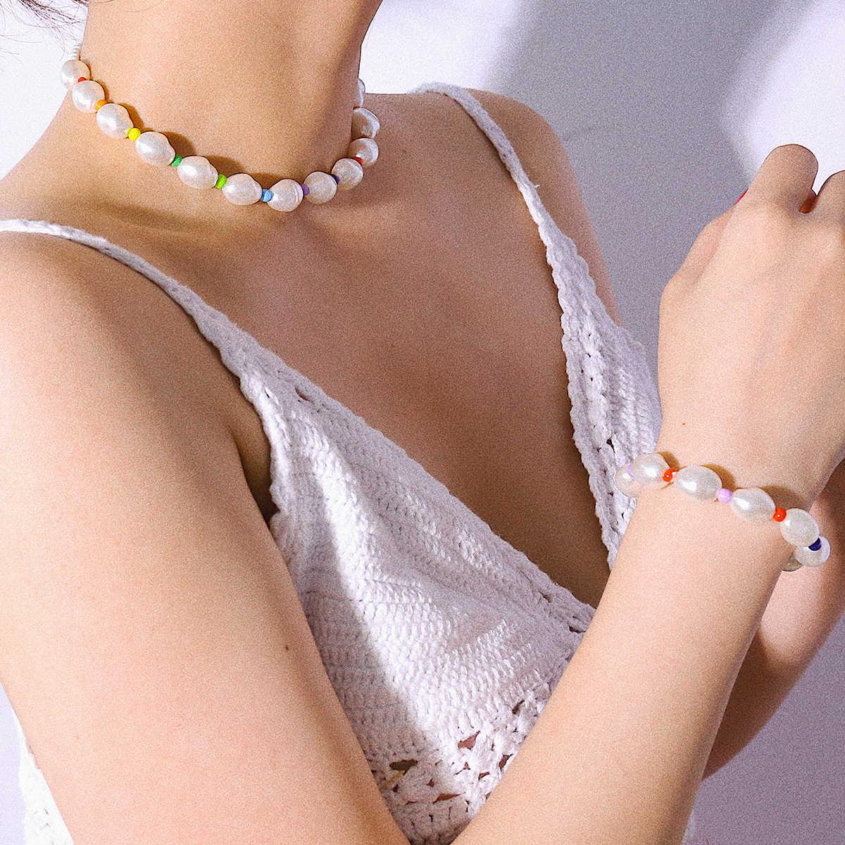 Ingemark Elegant Imitation Pearl Bridal Necklace NE+BA Korean Colorful Bead Chain Necklace Bracelets Women Wedding Jewelry Set