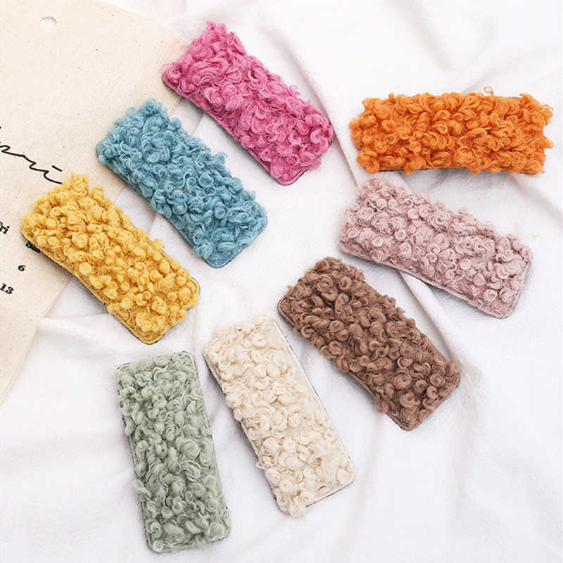 MISM 1pc Lambswool Bobby Clips Women/Girls Colorful Geometric Hair Clips Plush Scrunchy Elastic Rubber Band Hair Accessories