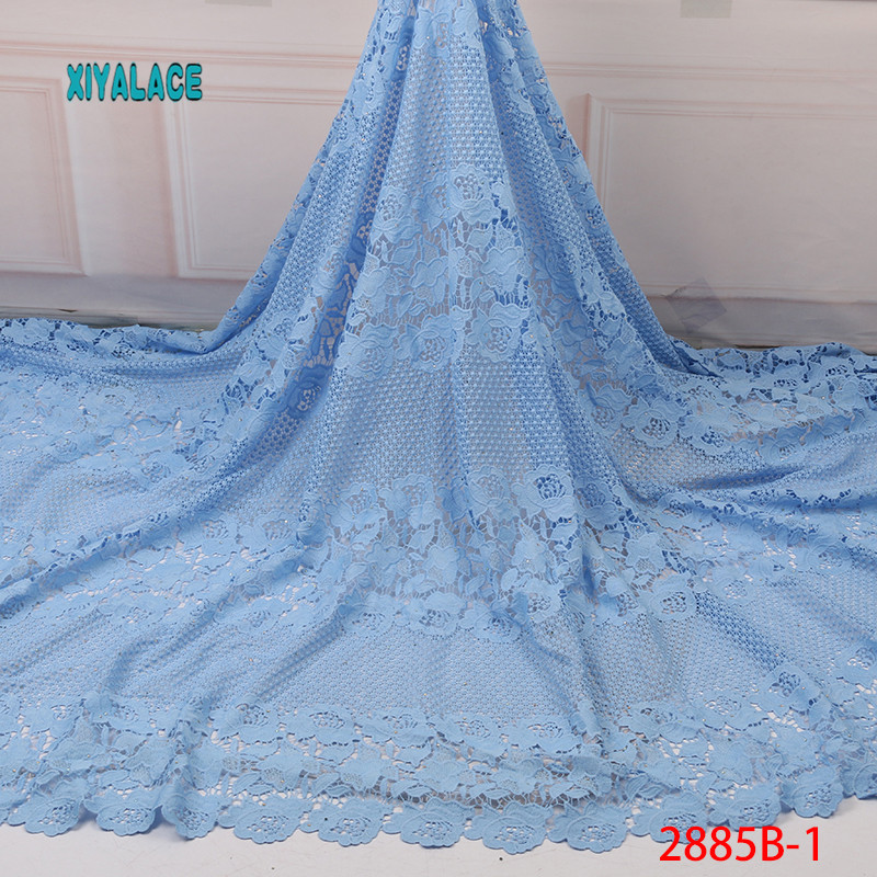 African Lace Fabric 2019 High Quality Lace French Lace Fabric Embroidery Fabric Nigerian Voile Suisse Lace Fabrics YA2885B-1
