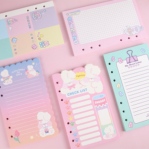 Kawaii Stationery A6 Notebook Refill 6 Holes Journal Spiral Replacement Planner Note Book Weekly Grid Blank Line Diary Paper