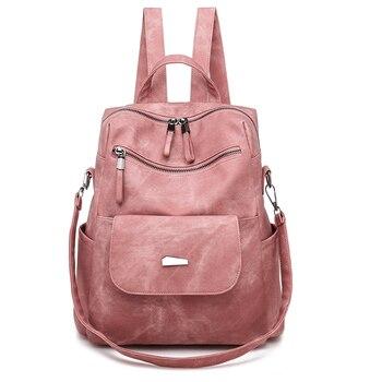 цены Women Backpack Leather Rucksack School Backpack Waterproof Anti Theft Bags Travel Female Fashion Bag Luxury Design Women Bag