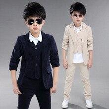 Fashion Boys Blazer Suits for Weddings Children Jacket+Vest+