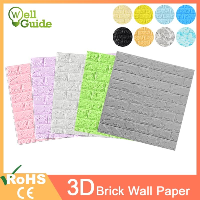 3D Wall Paper Brick Stone Pattern Self-Adhesive Waterproof 3D Wall Paper 70*77cm For Bedroom Kids Room Living Room 3D Wallpaper