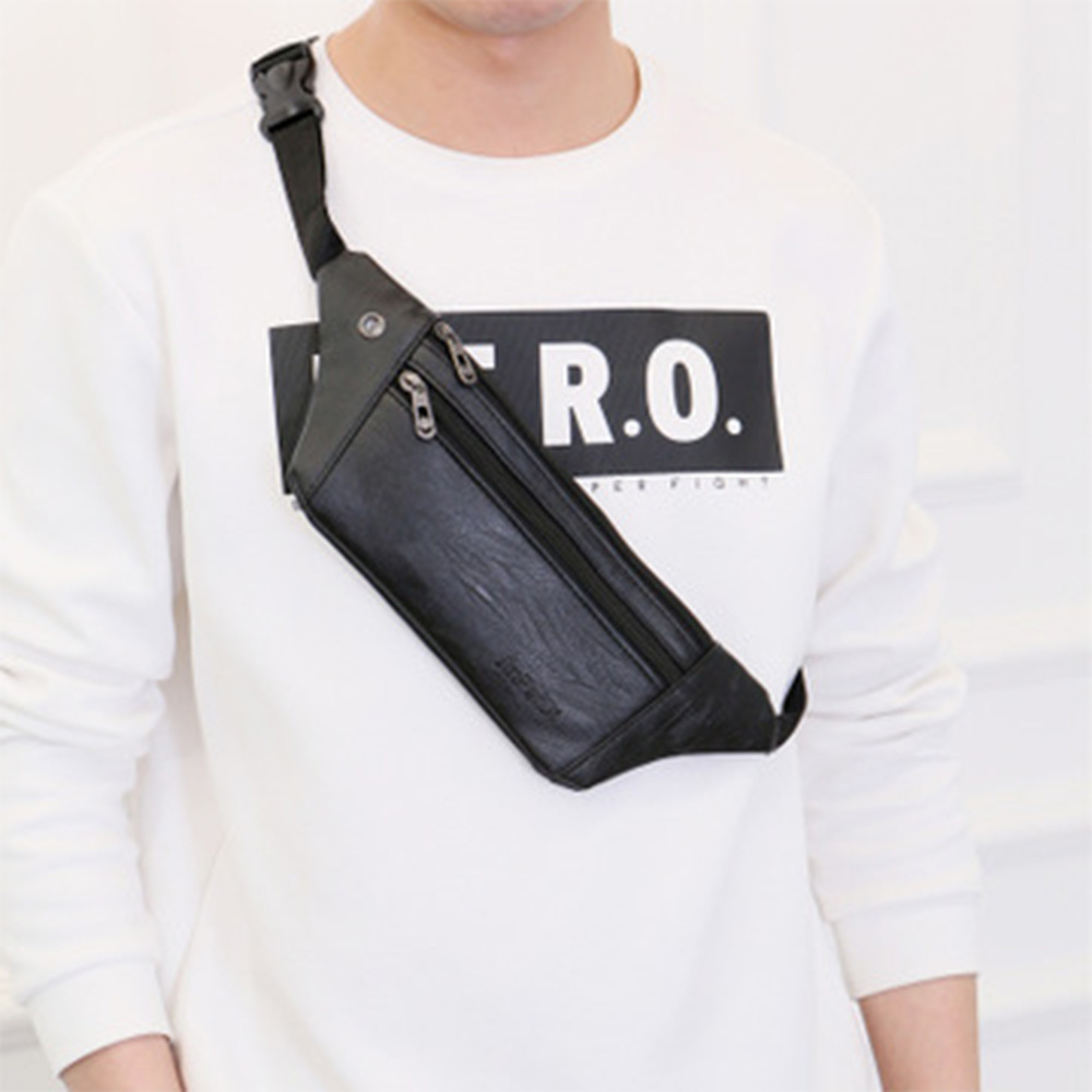 2019 Casual PU Leather Shoulder Bags Male Casual Small Vintage Crossbody Bags Men Chest Bag Multifunctional Messengers Bag