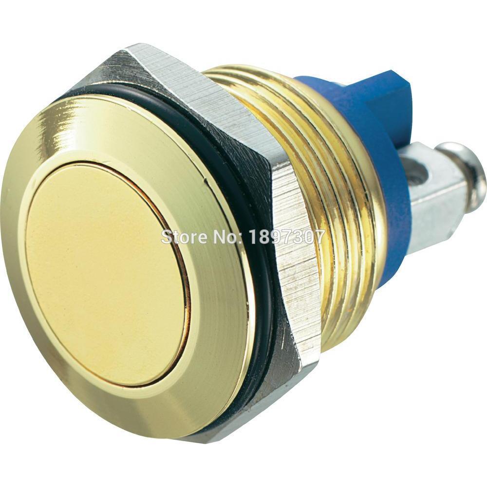 White Interruttore a pulsante per auto da 19 mm 12V impermeabile a LED in metallo Pulsante autobloccante con interruttore a scatto 1NO1NC