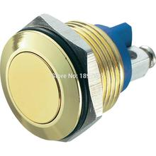 16mm Gold color Aluminum anodized waterproof push button golden switch