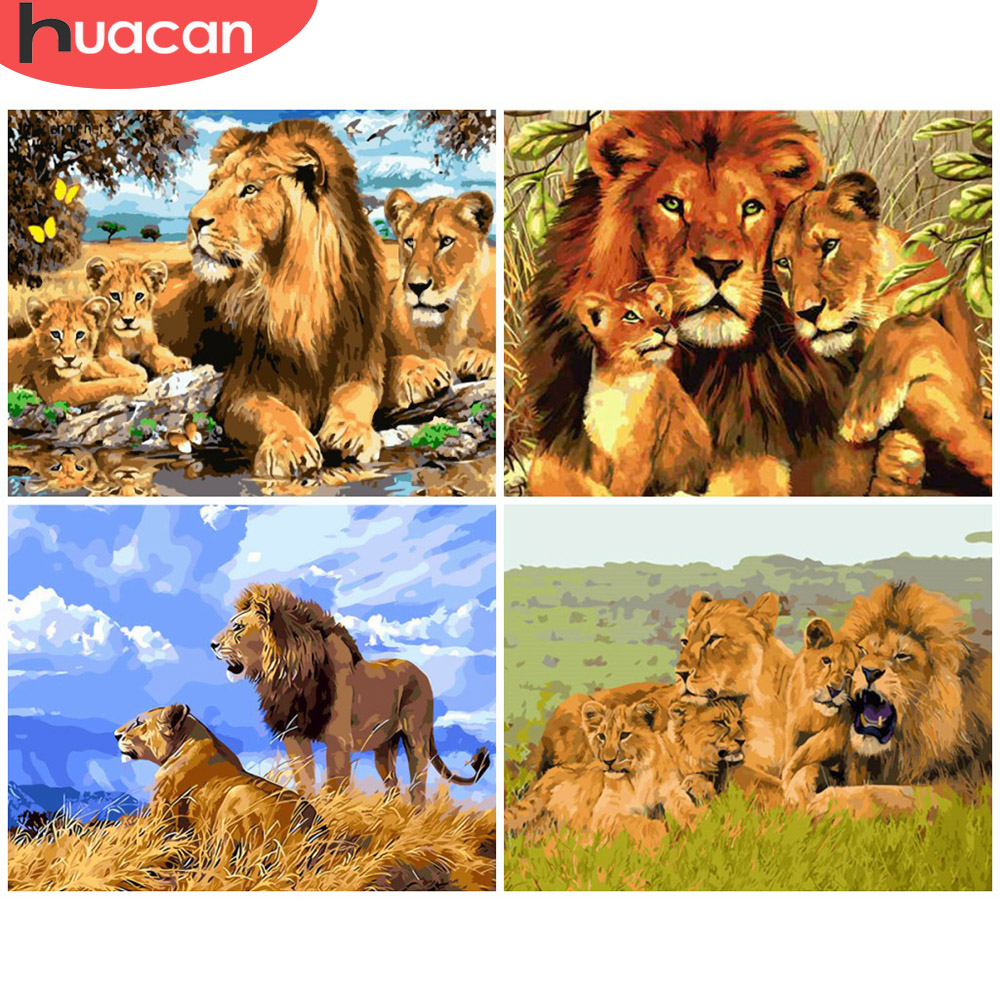 HUACAN Paint By Number Lion Animal Drawing On Canvas HandPainted Art Gift DIY Picture Painting By Number Kits Home Decoration