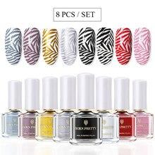 Kit de vernis à ongles en Gel, blanc, noir, 8 à 6ml, plaques d'estampage, modèle de tampon