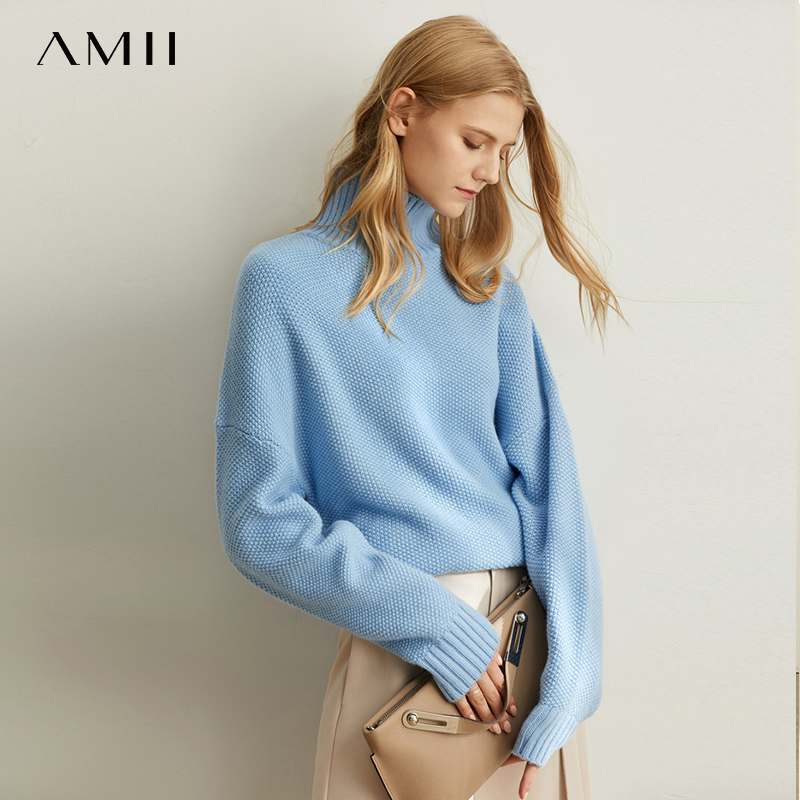 Amii Minimalist Lazy Western Style Soft Milk Blue Knit Sweater Women Autumn New Loose Warm High Collar Wool Pullover 11930292
