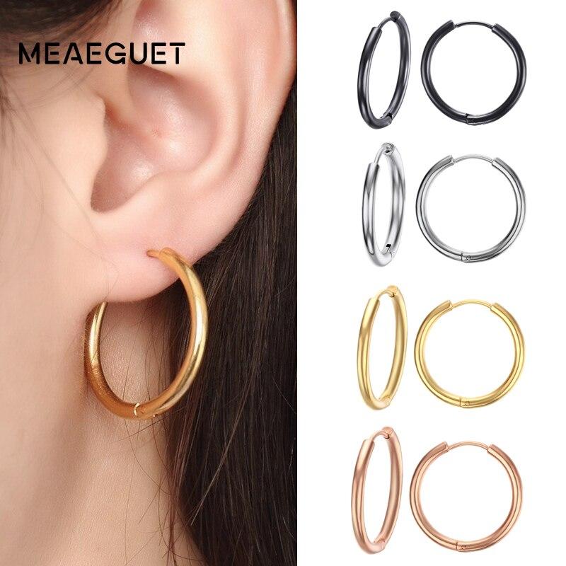 Meaeguet Trendy Silver Rose Gold Black Tone Stainless Steel Hoop Earrings Round Loop Earring For Women 25mm/20mm/11mm