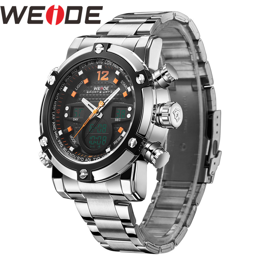 WEIDE Watch Men Relogio Masculino Watch Date Alarm Back Light Time Zone Quartz Relojes Men Digital Wrist LCD Men Reloj Men Watch