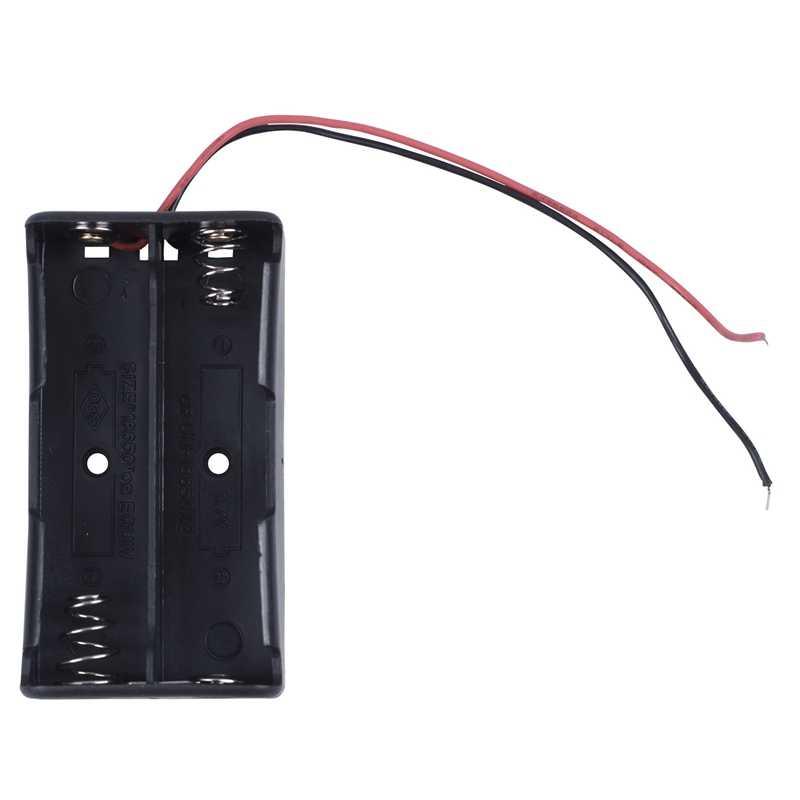 1 pçs preto 2x3.7 v 18650 pontas pontas baterias caso suporte da bateria com fio leads & 1 pçs série 3.7 v ponta plana bateria titular caso