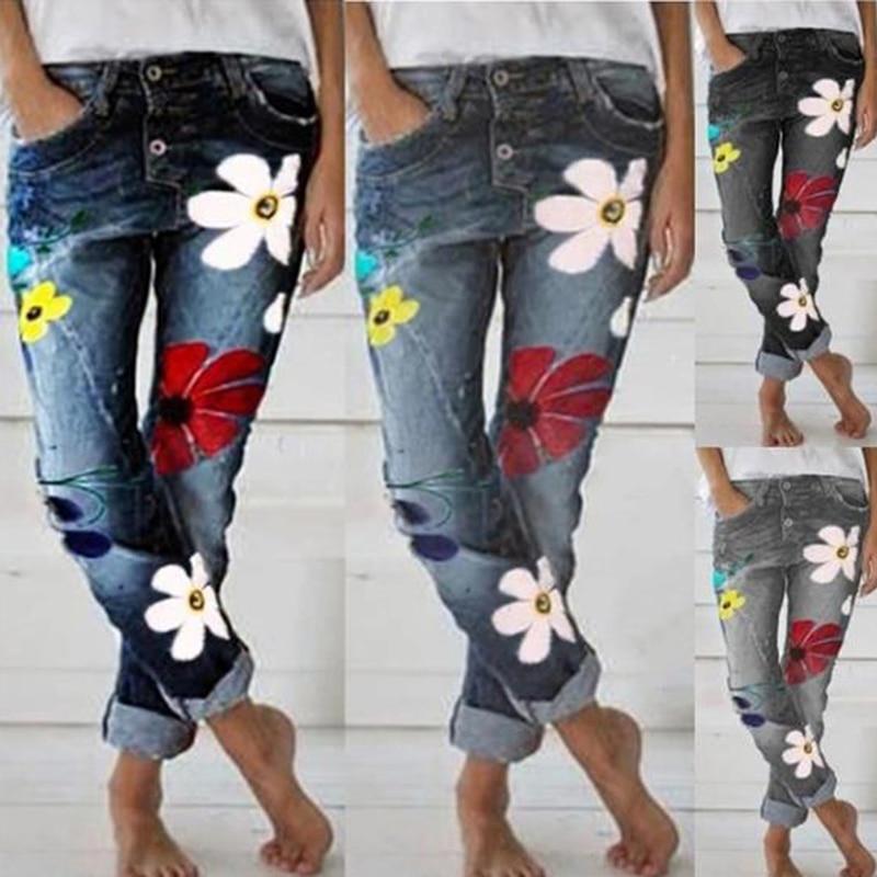 Женские длинные брюки, осенние модные свободные джинсы с цветочным принтом, повседневные джинсы с высокой талией, подходят для всех