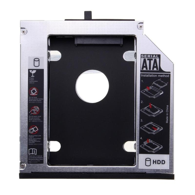 """12.7mm SATA 3.0 2nd HDD Caddy 2.5"""" SSD HDD Case Hard Drive Disk Box Enclosure DVD Adapter 2TB for Laptop CD-ROM Optical Bay"""