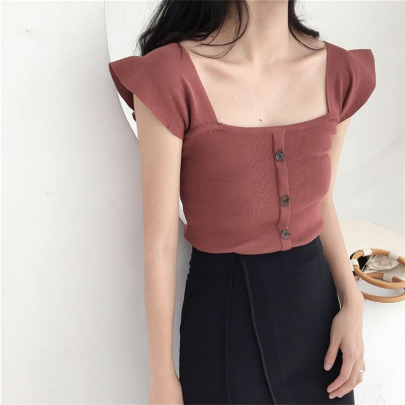 Women Vintage Button Tanks Summer Ruffles Sleeveless Slash Neck Tops Korean Solid Slim Knitted Tops Vintage Tank Sweater