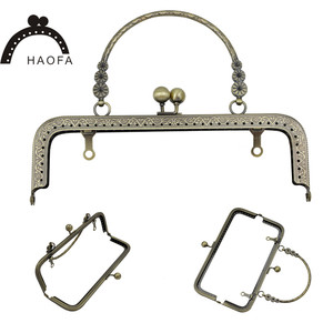 Image 4 - HAOFA 4pcs 20cm Small Flower Handle Sewing Purse Metal Frames Antique Accessories For Bag kiss clasp bag frame