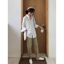 2020 Womens Blouse Shirts Celmia 2020 Modus Witte Revers Casual Solid Lange Mouwen Knoppen Asymmetrische Tops Dames Baggy Blusas