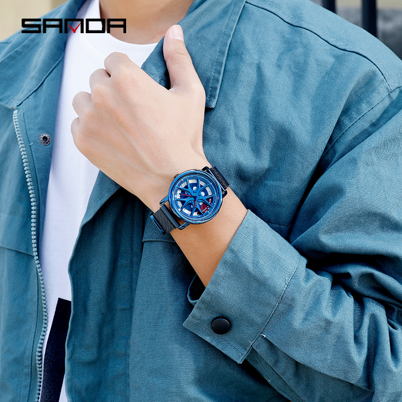 Image 5 - SANDA 2020 Hot Sell Men Watch Waterproof Rotating Dial Wheel Watches Magnet Clasp Quartz Wristwatch Gifts Relogio Masculino 1025Quartz Watches   -