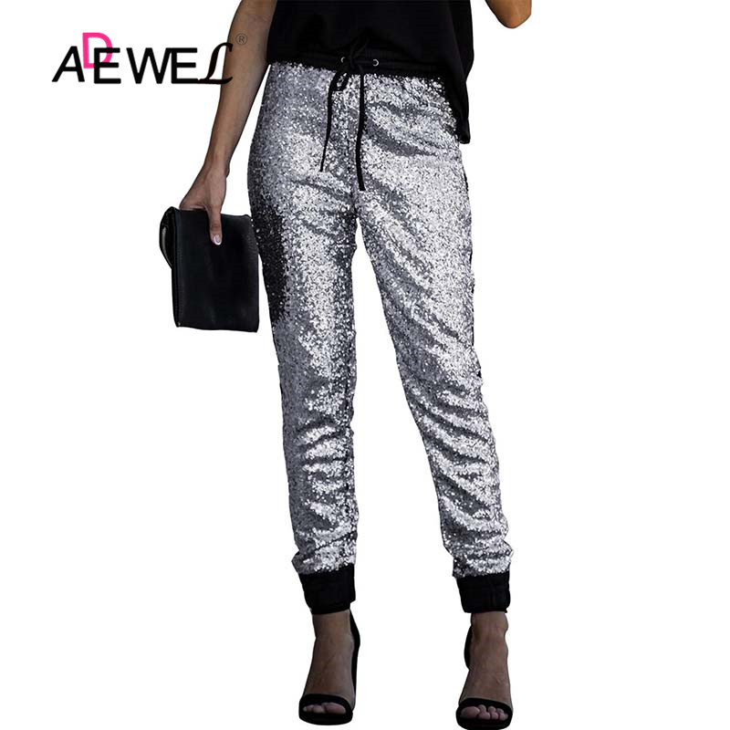 ADEWEL Women Fashion Sequin Long Pencil Pants Ankle Tie Long Pants High Waist Drawstring Black Party Ladies Trousers Streetwear