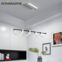 Nowoczesny wisiorek led Light White Metal wisior sufitowy lampy Foyer jadalnia kuchnia salon lampa biurowa Luminiare 100 120cm w Wiszące lampki od Lampy i oświetlenie na