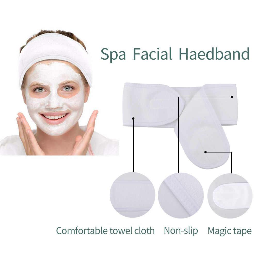 3 pçs macio microfibra maquiagem removedor de toalha de pelúcia puff e 1 pçs spa facial bandana compõem envoltório cabeça rosto cuidados com a pele ferramentas