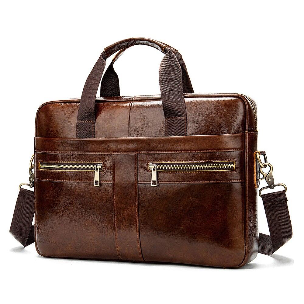 Men's Handbag Business Office Genuine Leather Men Briefcase Casual Shoulder Messenger Bag Soft Top Quality Cowhide Laptop Bag