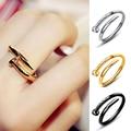 Женское регулируемое кольцо для ногтей, золотистое/серебристое Открытое кольцо в Корейском стиле