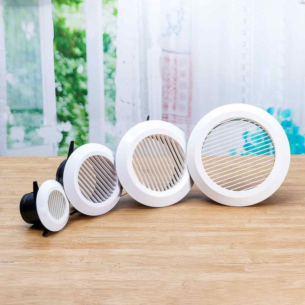 75-200mm Air Vent Ventilation Grille Grid Air Vent Round Louver Grille Cover Grate Ventilator For Kitchen Bathroom Ventilation
