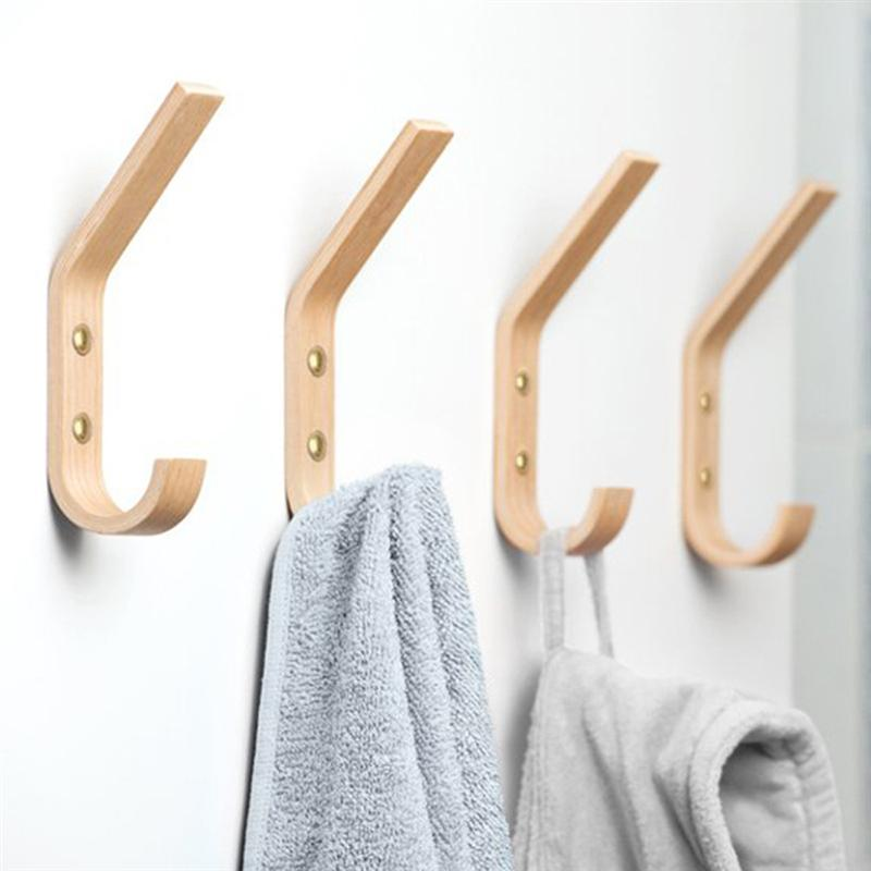 2pcs Solid Wood Wall Hooks Coat And Hat Hanger Modern Clothes Hook For Bedroom Dressing Room
