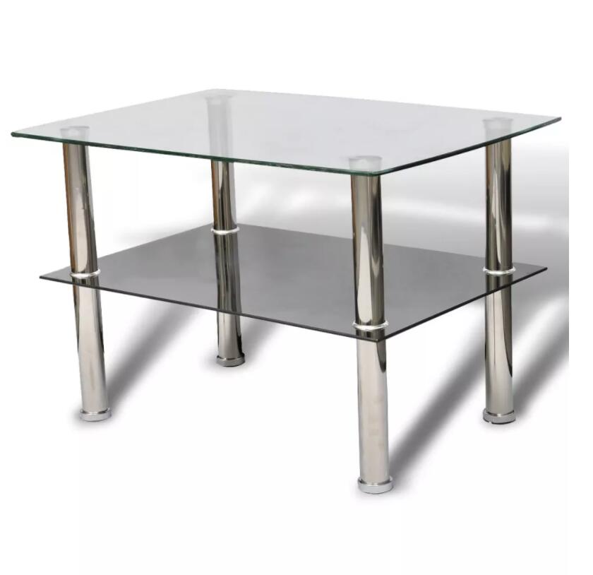 New VidaXL Coffee Table Rectangle Side Table With 2 Shelves Glass Tempered Glass Table For Cafe, Bar, Hotel Office Living Room