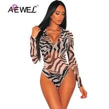 ADEWEL Sexy Zebra Print Mesh O-Ring Zipper Bodysuit combinaison pantalon femme women clothes bodysuits body fiesta mujer L