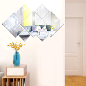 Removable Art Mirror Wall Sticker Bath Tile Wall Mural Decal Mirror Stickers DIY Acrylic Rhombus Mirror For Home Room Decoration