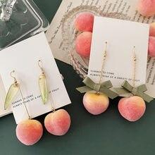 Timlee-boucles d'oreilles E331, jolies boucles d'oreilles en forme de feuille, miel, pêche, longues boucles d'oreilles pendantes, populaires, vente en gros, été