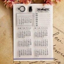 Вечный календарь с узором, прозрачные штампы/силиконовые уплотнения для Деда Мороза, скрапбукинга, рождественской открытки DIY
