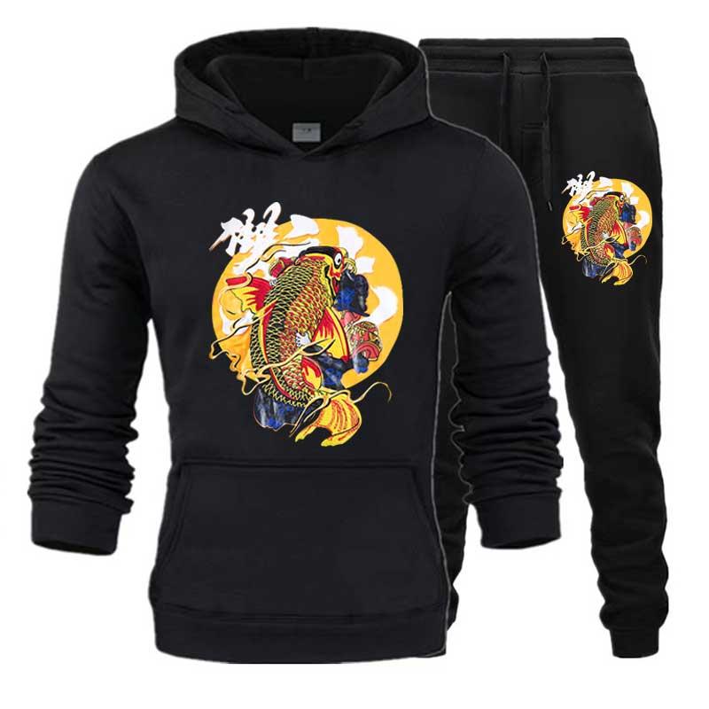 Dragon Men's Sets Drop Shipping Hoodies+Pants Harajuku Wholesale Sport Suits Casual Sweatshirts Tracksuit Sportswear Plus 5XL