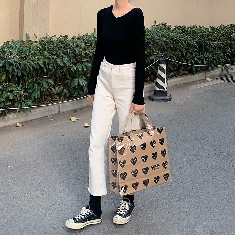 Kawakubo Rei CDG Christmas Black Heart Kraft Paper Bag Shopping Bag Big Bag Fun Handheld PVC Waterproof Bag