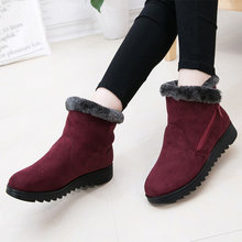 Schnee Stiefel Frauen Zip Winter Damen Warme Pelz Wildleder Wedge Ankle Boot Weibliche Mode Casual Schuhe Komfort Schuhe Plus Größe(China)
