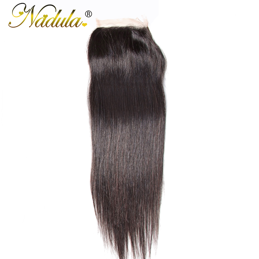 Nadula Hair 4X4 Lace Closure Straight  Closure With Baby Hair Swiss Lace Medium Brown  Closure 8-18inch 1