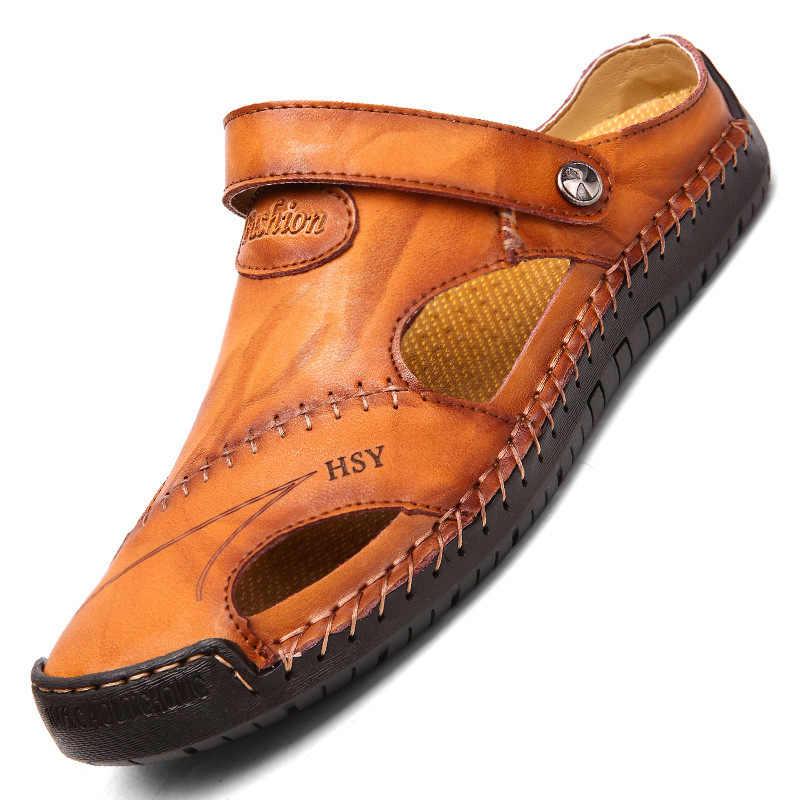 2020 nowe letnie męskie sandały wysokiej jakości sandały z prawdziwej skóry półbuty męskie męskie sandały rekreacyjne plażowe męskie buty 38-47