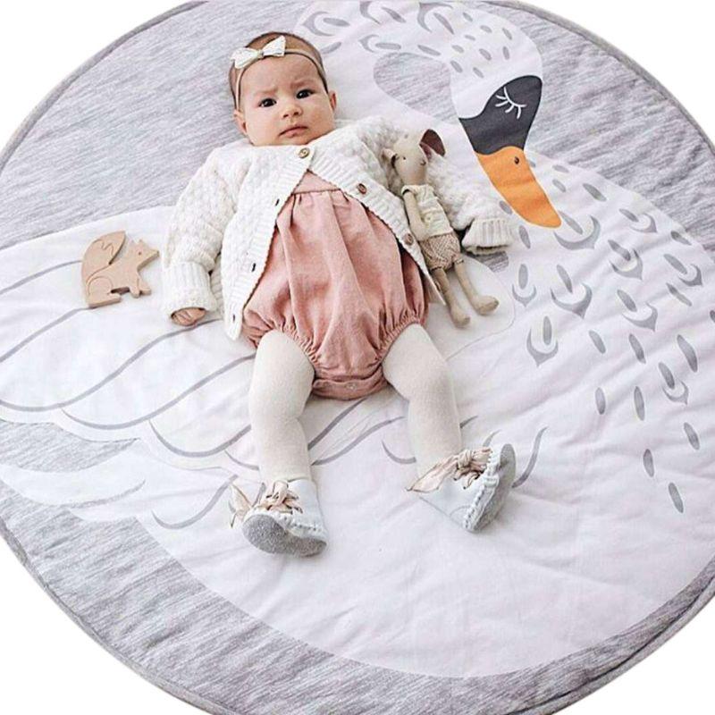 Baby Toddlers Play Floor Mat Cartoon Swan Kids Crawling Blanket Children Room Stroller Decor Props