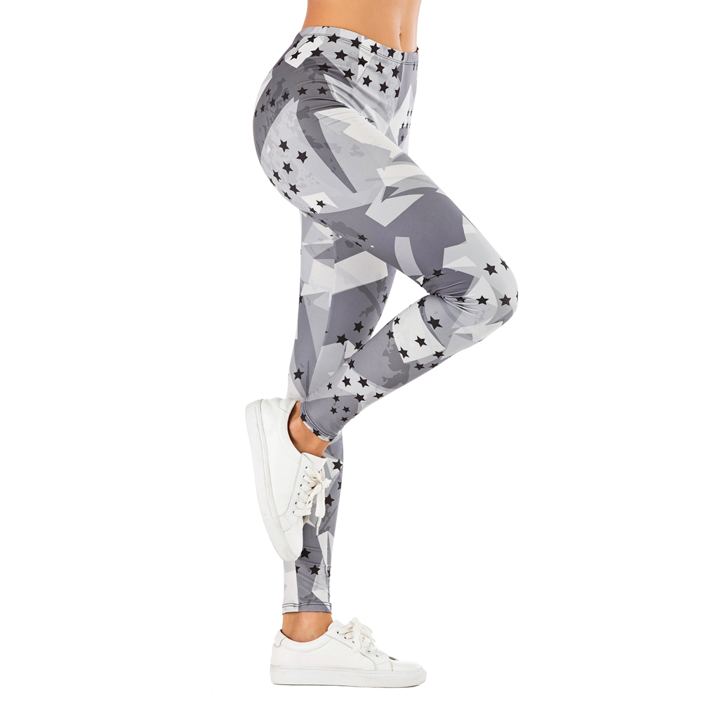 Brand Fashion Woman Pants Sexy Women Legging Stars Grey Printing Fitness Leggins Slim Legins Soft And Stretchy Leggings