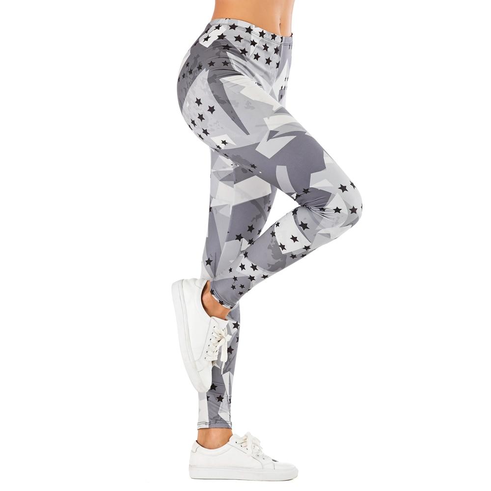 Brand Fashion Woman Pants Sexy Women Legging Stars Grey Printing Fitness Leggins Slim Legins Soft And Stretchy Leggings