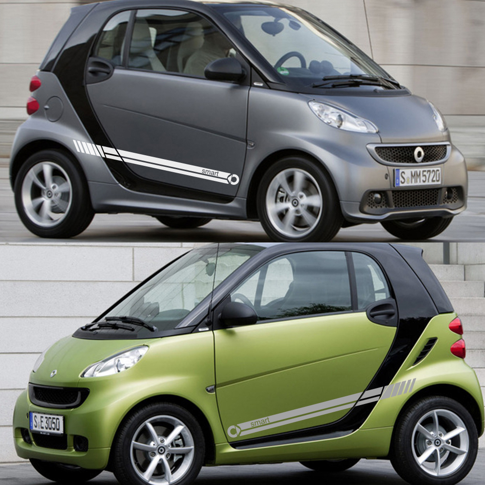 cheapest 2pcs Car Door Side Stripe Vinyl Film Sticker Decal Decoration For Smart 451 453 fortwo forfour Car Accessories
