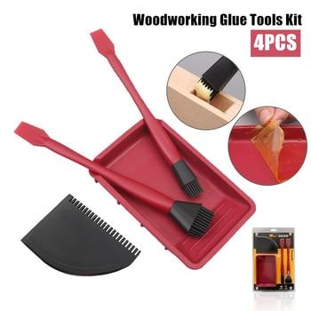 4PCS Silicone Woodworking Glue Tools Kit Narrow Brush Wide Brush Thin Blade Shovel Flat Scraper Glue Tray Wood Gluing Tools